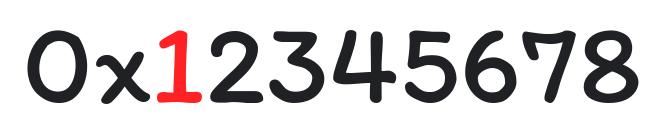 值 0x12345678,其中最高有效位 1 使用红色表示